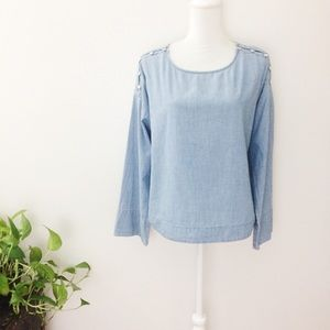 Madewell Chambray Long Sleeve Button Detail Blouse
